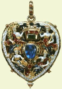 Pendant. 1571, England. The Darnley or Lennox Jewel is made from rubies, emeralds and sapphires, gold and enamel. The figures of Faith, Hope, Victory and truth surround a winged heart. Ed. Note: For reference. Seems a little blurry
