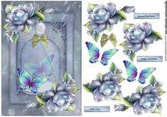 Vintage Jar And Bleu Roses on Craftsuprint designed by Marijke Kok - Beautiful bleu roses on a vintage jar for a lovely female/other card. - Now available for download!