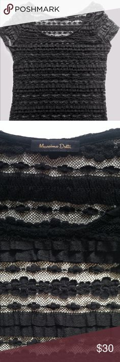 Black short sleeve w/embroidery blouse. Good condition. Only use one night. Massimo Dutti Tops Blouses