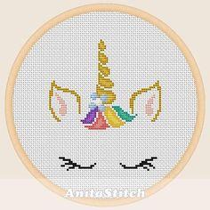 Unicorn face Cross stitch pattern