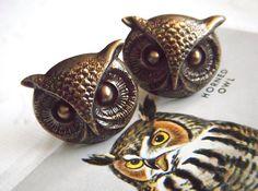 Owl Cufflinks BIG Bold & Brass Gothic Victorian Steampunk Vintage Style Popular Men's Accessories Large Size Owl Cuff Links. $24.00, via Etsy.