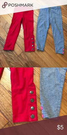 Cute leggings Red legging ms with metal snaps at the bottom. Grey leggings with pink buttons at the bottom. Very cute in good condition. Bottoms Leggings