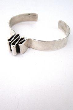 vintage modernist sterling silver heartbeat cuff bracelet