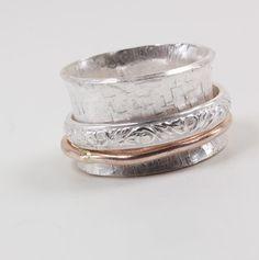 Solid 925 Sterling Silver Spinner Ring Meditation Ring Statement Ring Size sr123