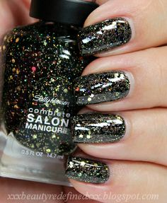 Sally Hansen Complete Salon Manicure Swatches - Midnight Glitz and Fa-la-la-lavender Rimmel Nail Polish, Black Nail Polish, Black Nails, Dark Spirit, Nail Polish Collection, Sally Hansen, Pretty Nails, My Nails, Swatch