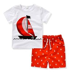 2bae349b3446 AJia Kids 2 Piece Clothes Suit Tee and Shorts Set For 1 to 5 Years Olds Baby  Boys