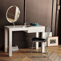 West Elm Parsons Vanity - not as deep as the Parsons desk so it fits better in my guest room/office - a perfect combo. Modern Makeup Vanity, Bedroom Makeup Vanity, Vanity Desk, Parsons Desk, Guest Room Office, Tiny Apartments, Bedroom Vintage, Home Accessories, Modern Furniture