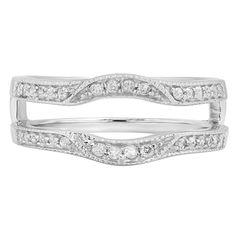 Shop for 14k White Gold 1/4ct TDW Diamond Millgrain Enhancer Double Guard Band…