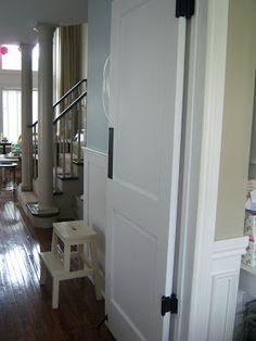 swinging pantry door with door stop.