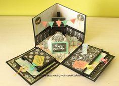 "Arte, Artesania y Manualidades: Explosion Box ""Happy Birthday"" Birthday Explosion Box, Birthday Box, Birthday Gifts, Happy Birthday, Diy Gift Box, Diy Box, Craft Gifts, Diy Gifts, Exploding Gift Box"