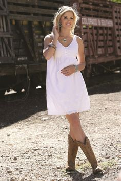 White Cotton Voile Dress with Pockets