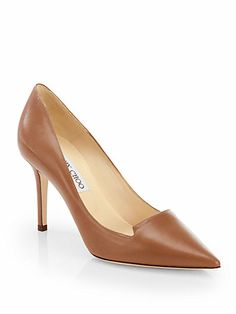 Jimmy Choo - Alia Leather Notched Pumps - Saks.com