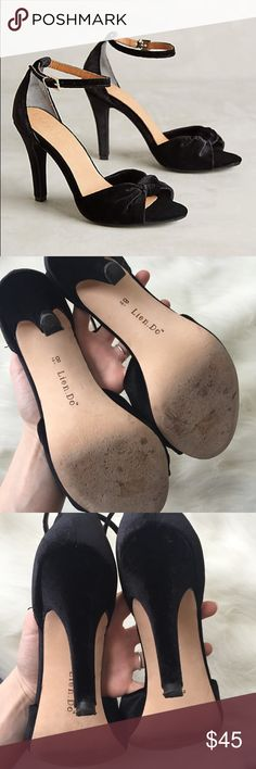 """Anthropologie Lien Do Julietta Velvet Bow Heel Great used condition! Minor """"imprint"""" on toe area, but no flaws! Anthropologie Shoes Heels"""