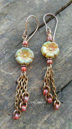 Rustic Earrings Czech Glass Earrings Rustic Picasso by LonyJewelry