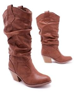 Leatherette Cowgirl Boot  These slouchy leatherette boots feature plenty of padded accents and so, are equally matched for jeans or a flirty and feminine frock. Shaft height: 11 ins. Heel height: 2 ins. Circumference: 12 inches. Women's whole & half sizes. Sizing's are for a size 5.5. http://newwomensfashionstyles.blogspot.com/2013/09/leatherette-cowgirl-boot.html