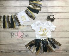 Two Wild Birthday Tutu Outfit High Chair Banner | Etsy