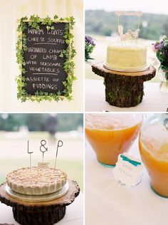 Ivy outlining things and tree stump cake holder Tree Stump Cake, Blackboard Menu, Rustic Cake Stands, Bird Cake Toppers, Cake Holder, Wood Cake, Bird Cakes, Wedding Planning, Wedding Ideas