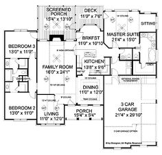 Home Plans HOMEPW02945 - 1,992 Square Feet, 3 Bedroom 2 Bathroom Ranch Home with 2 Garage Bays