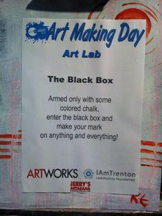 "Art Making Day 2013 - The ""Black Box"" chalkboard room at Artworks Trenton"
