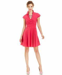 Betsey Johnson Cap-Sleeve Point-Collar Dress - Dresses - Women - Macy's