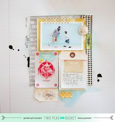 lovely scrapbook layout by Marcy Penner - under sofa