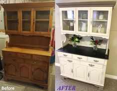 Hutch ideas + 33 What You Should Do About China Cabinet Redo Before And After Hutch Makeover 25 - De Refurbished Furniture, Paint Furniture, Repurposed Furniture, Furniture Projects, Kitchen Furniture, Furniture Makeover, Refurbished Hutch, Furniture Websites, Cheap Furniture
