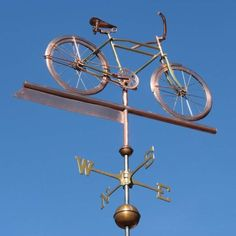 Schwinn Bicycle Weather Vane by West Coast Weather Vanes. This custom made handcrafted Bicycle weathervane can be made using a combination of copper and brass with optional gold leafing.