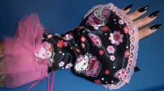 """""""Reversible Petal Gloves"""" Black Rose / Hello Kitty, by Cheyenne Hale...(I have one pair of these gloves available for sale)"""