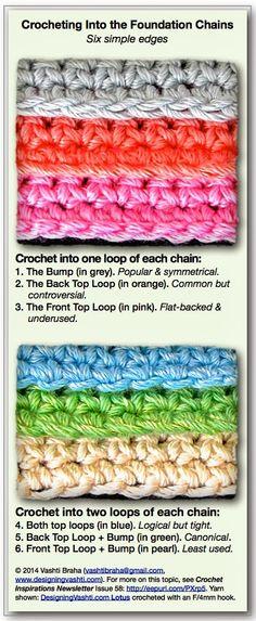 HOLY SMOKES!!!!  Six Simple Ways to Crochet Into the Foundation Chains: Vashti's Crochet Pattern Companion Blog