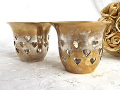 Brass Tealights, Retro Brass Tealights, Heart Design, Candlelight, Retro Brass, Made in India, Brass Decor by AgedwithGraceVintage on Etsy