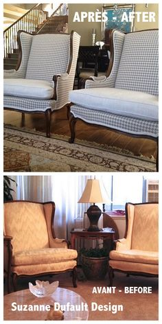 Wing chairs recovered, before and after...Suzanne Dufault DesignISmall House Addict Blog!