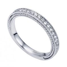 Gabriel and Co 14K White Gold Victorian Straight Wedding Band WB6636W44JJ style with .23 total carat weight of diamonds.
