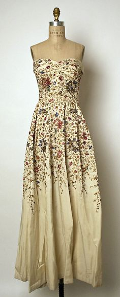 "Embroidered silk evening dress worn by Ava Gardner, designed by Pierre Balmain, French, 1953. Label:  ""Pierre Balmain - Paris"""