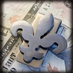 Metal Fleur De Lis Money Clip handmade by WATTO Distinctive Metal Wear $15.00 https://www.etsy.com/listing/96517897/metal-fleur-de-lis-money-clip-perfect #best man gifts #groomsmen gifts #father's Day gifts #guy stuff