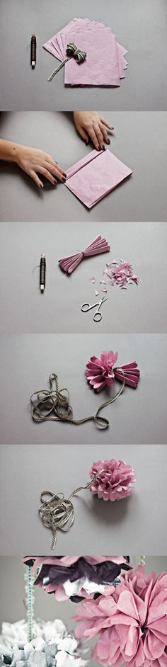 Paper Flowers!! Cute, huh? i tried this with newspaper u know to recycle and stuff and it turned out to be so chic!!
