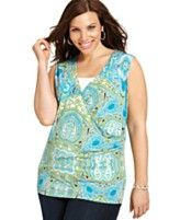 Jones New York Signature Plus Size Top, Sleeveless Printed Surplice-Wrap