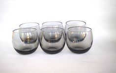 Vintage Mid Century Smoked Glass Roly Poly set of 6 Cocktail
