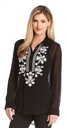 So Pretty! Black and White Bead Embroidery Blouse