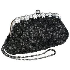 Black Irridescent Dazzling Sequins Beading Soft Clutch Evening Bag Purse Handbag with 2 Detachable Shoulder Chains,