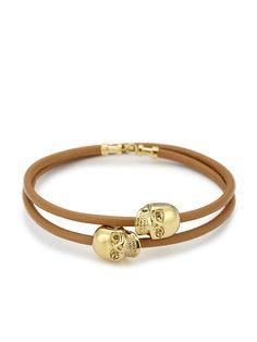 Premium Tan Leather/ 18Kt. Gold Skull Double Wrap Bracelet by Northskull #northskull #Jewelry #skulls #bracelet #leather #gold #wrap