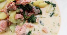"""""""Lohi"""" inseamna somon in finlandeza, iar """"keitto"""" supa. Azi preparam supa de somon! Aceasta supa cremeoasa de peste este foarte populara in tarile scandinave si este probabil si una din cele mai gustoase supe de peste pe care le vei gusta vreodata. Si nu numai atat, dar se si prepara … Citește în continuare Lohikeitto (supa de somon finlandeza) → Potato Salad, Soup, Potatoes, Ethnic Recipes, Potato, Soups"""