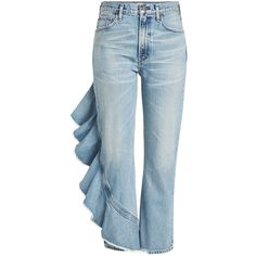 Citizens of Humanity Cropped Jeans (27.480 RUB) ❤ liked on Polyvore featuring jeans, bottoms, pants, denim, blue, patterned jeans, blue camisole, ruffle cami, print cami and citizens of humanity