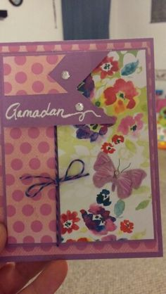 Girly polka dot ramadan card with joleess boutique butterflies and clear rhinestone and handwritten gel pen sentiment with bakers twine and dimensionals