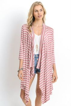 Striped Long Body Open Cardigan