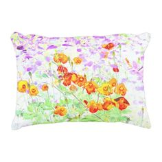 hint of poppy accent pillow
