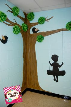 "Tree with tissue paper ""leaf"" poms, shadow birds, and shadow boy on tire swing.  Shadow boy from Schoolgirl Style."