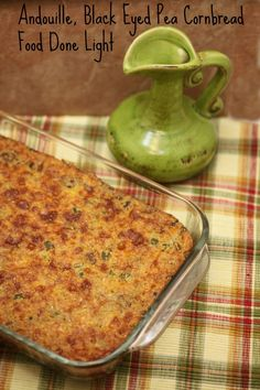 Bring Good Luck into the New Year with Healthy, low calorie and fat - Andouille Black Eyed Pea Cheese Cornbread www.fooddonelight.com
