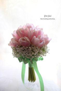 チューリップとかすみ草のブーケ tulip baby's breath bouquet