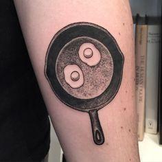 Twin eggs by Joel Rich at Black Medicine Tattoo, Vancouver BC Body Tattoos, I Tattoo, Tatoos, Cooking Tattoo, Tattoo Project, Travel Dating, Skin Art, Body Mods, Tattoo Inspiration