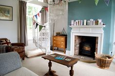 Painted in Farrow and Ball Oval Room Blue.